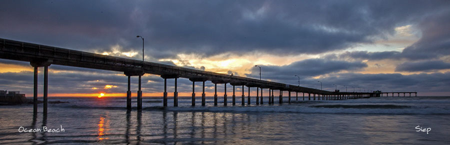ocean beach pier sunset pano